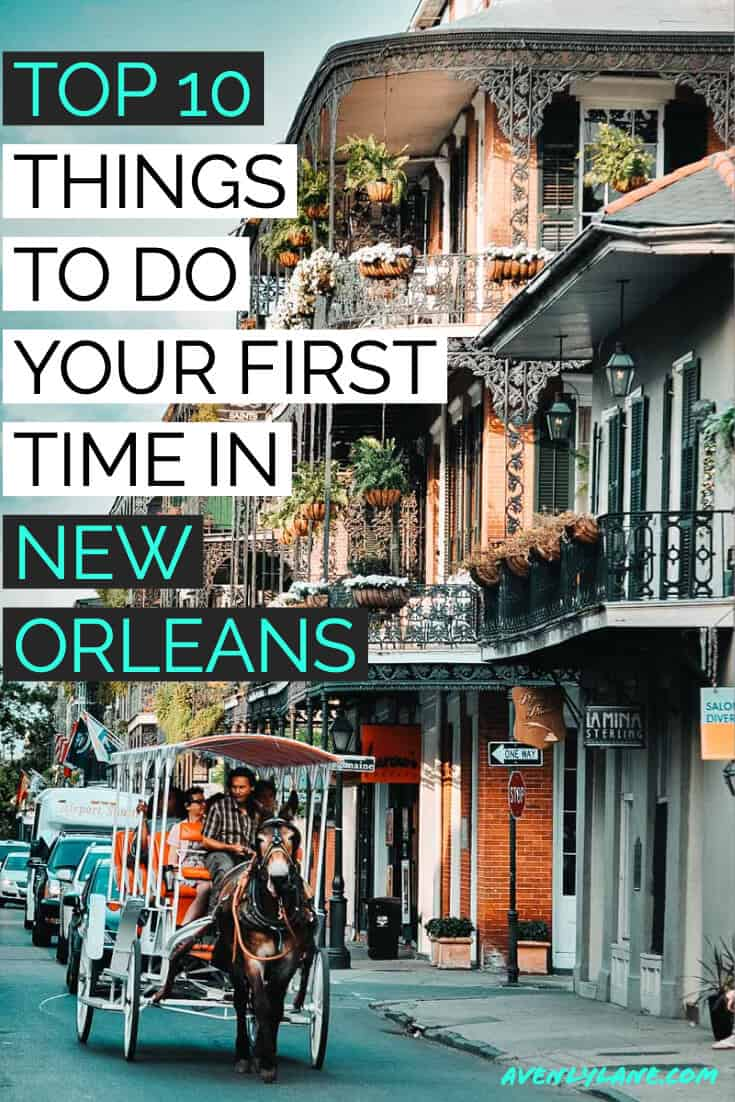 Top 10 Things to do in New Orleans! Take a tour of the French Quarter. New Orleans is an incredibly unique city with so many beautiful places to see. Check out our favorite spots in New Orleans on AvenlyLaneTravel.com #avenlylane #avenlylanetravel #neworleans #traveldestinations #travelblogger #travelinspiration #usatravel