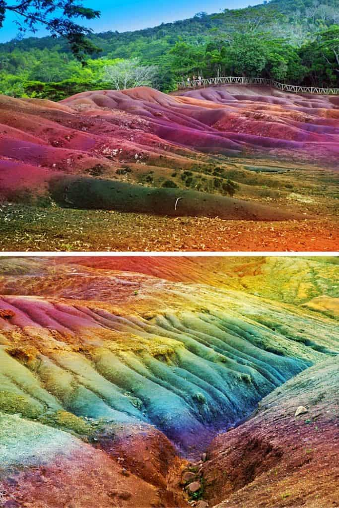Seven Colored Earth of Chamarel, Mauritius in the Indian Ocean off the coast of Africa. This was caused when volcanic rock colled at different temps. Seven Colored Earth of Chamarel, Mauritius in the Indian Ocean off the coast of Africa.