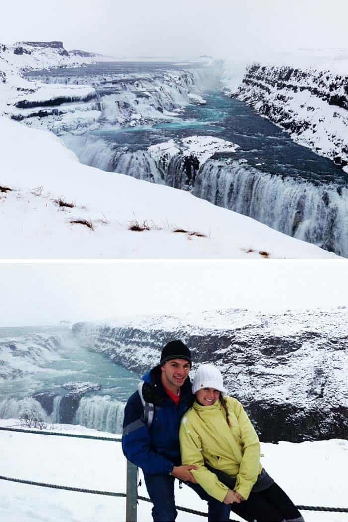 Gullfoss waterfall in Iceland! Top 10 things to do in Iceland, including visiting a massive volcano, knocking the Blue Lagoon, black sand beaches in Vik Iceland, ice caves, glacier lagoons, the northern lights, off your Europe Bucket List. Check out the top places to see in Iceland on Avenlylanetravel.com #iceland #visiticeland #icelandtrip #travel #traveltips #europe #wanderlust #bucketlist #travelphotography #wintertravel #islands #nature #avenlylanetravel #waterfalls