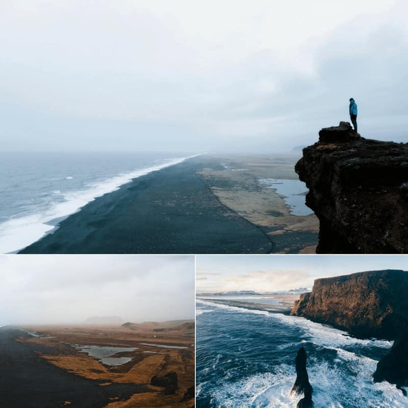 Black sand beaches in Vik, Iceland