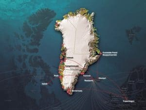 Travel Map of Greenland flight paths