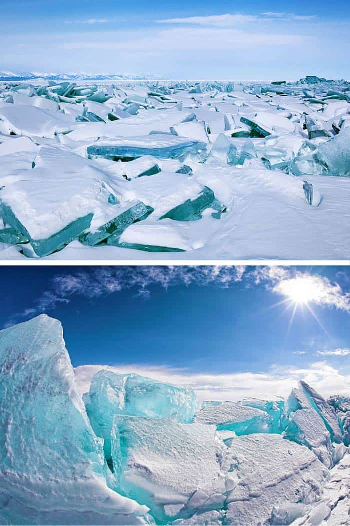 You can't miss the giant shards of lovely turquoise ice on Lake Baikal in Russia — they just may be the best-looking ice cubes ever. Click through to see 20 more UNREAL travel destinations!