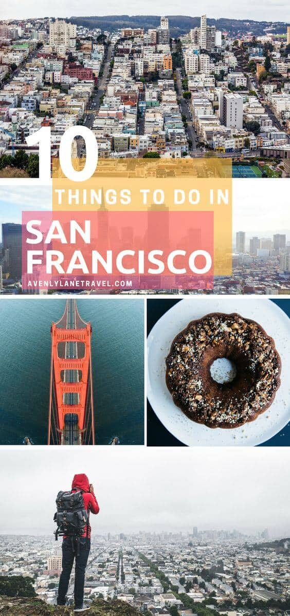 Top Things to do in San Francisco! Planning a trip to San Francisco and looking for the must see places to visit? Whether your vacation lasts one day or one week here are some of the top things you can't miss! Click through to ww.avenlylanetravel.com to read more on the best food, restaurants, shopping, taking travel photos at Lombard Street, beaches, the Golden Gate Bridge, and so much more! #sanfrancisco #USA #usatravel #traveltips #wanderlust #avenlylane #avenylanetravel
