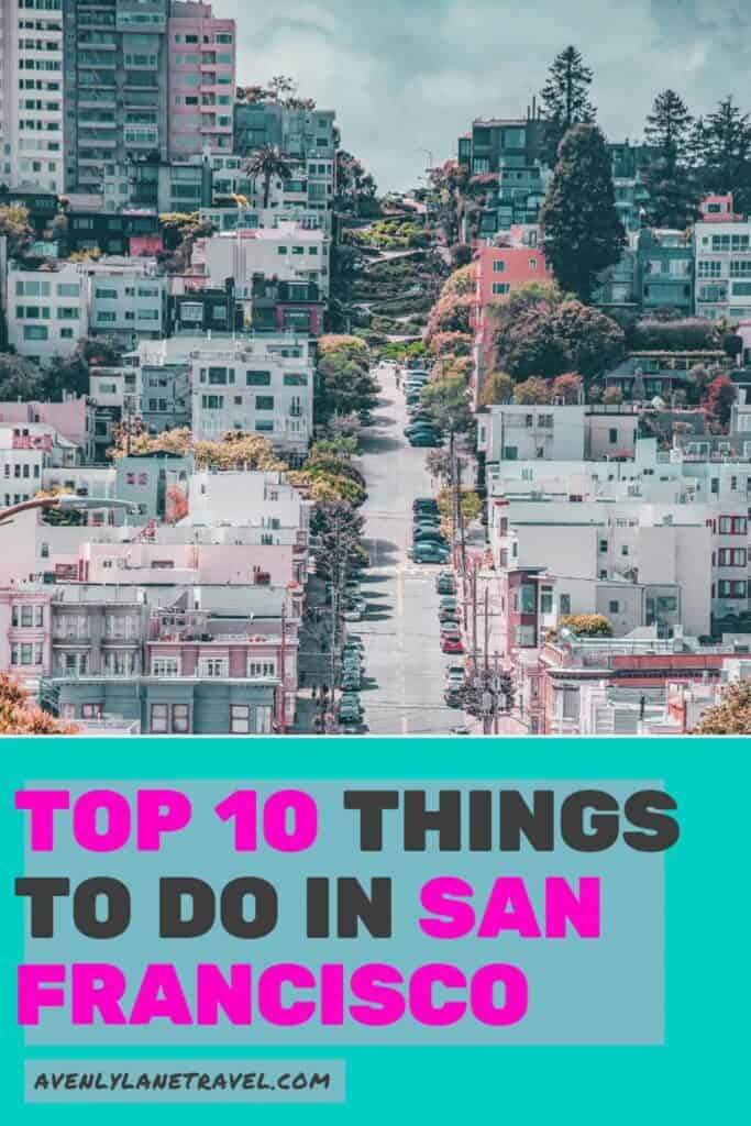 Lombard Street in San Francisco! Top 10 Things to do in San Francisco! Planning a trip to San Francisco and looking for the must see places to visit? Whether your vacation lasts one day or one week here are some of the top things you can't miss! Click through to ww.avenlylanetravel.com to read more on the best food, restaurants, shopping, taking travel photos at Lombard Street, beaches, the Golden Gate Bridge, and so much more! #sanfrancisco #USA #usatravel #traveltips #wanderlust #avenlylane #avenylanetravel