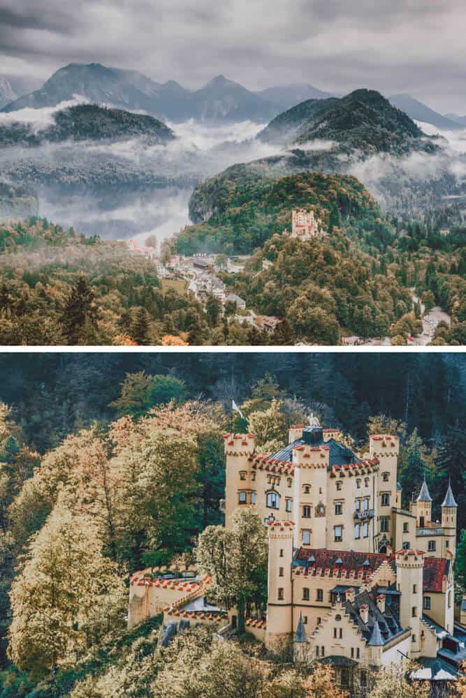 Hohenschwangau Castle, Germany. Of all the beautiful castles in Germany, I would have to say this one is my favorite!  This German castle near the town of Fussen amazingly received no damage in World War I or World War II. Check out 20 of the most beautiful castles in the world on avenlylanetravel.com #AVENLYLANETRAVEL #AVENLYLANE #castles #europe #travel #travelinspiration #beautifulplaces #beautifulphotos