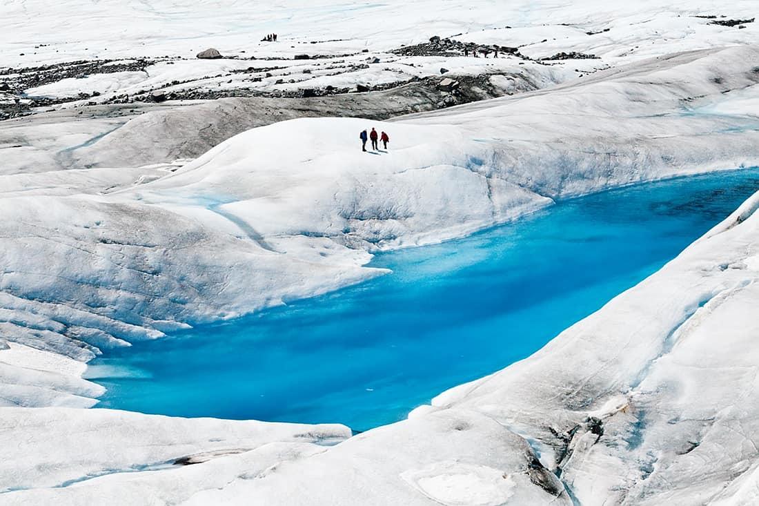 Blue ice pools on Mendenhall Glacier in Juneau Alaska