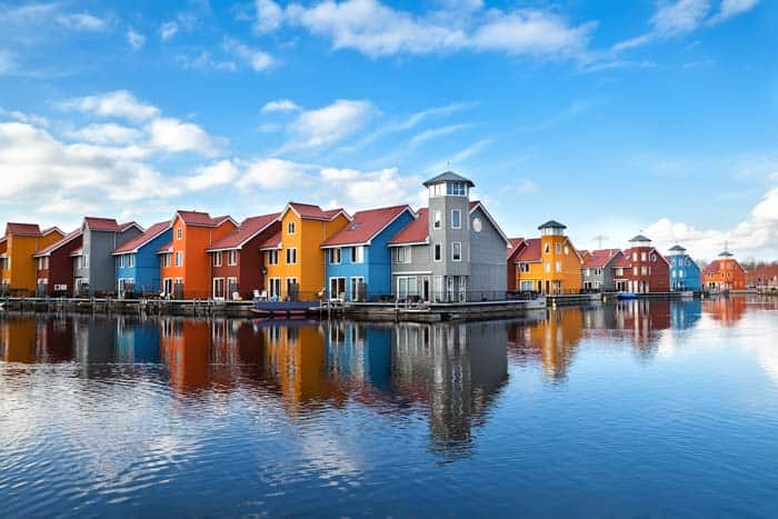 Reitdiephaven, Groningen, Holland! Click through to see some of the most colorful cities in the world! This post does not contain industrial soot stained cities; instead it showcases some of the most vibrant looking cities in the world.