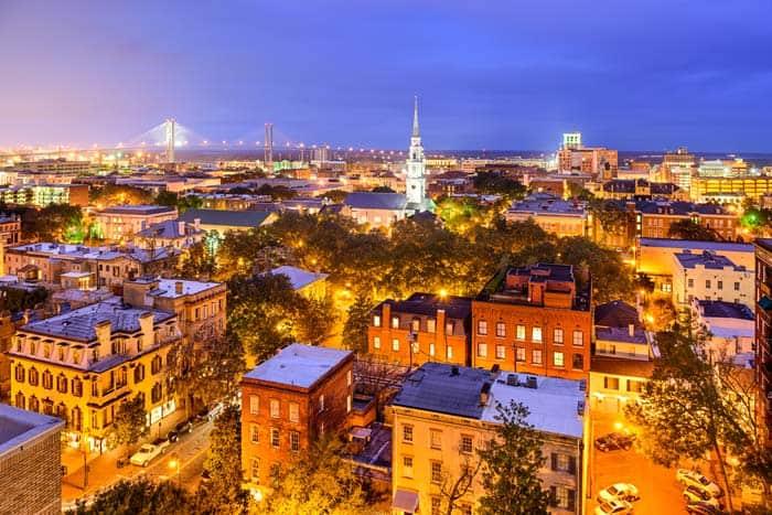 Aerial view of Savannah Georgia at night