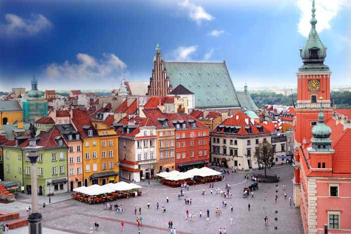 Warsaw, Poland! Click through to see some of the most colorful cities in the world! This post does not contain industrial soot stained cities; instead it showcases some of the most vibrant looking cities in the world.