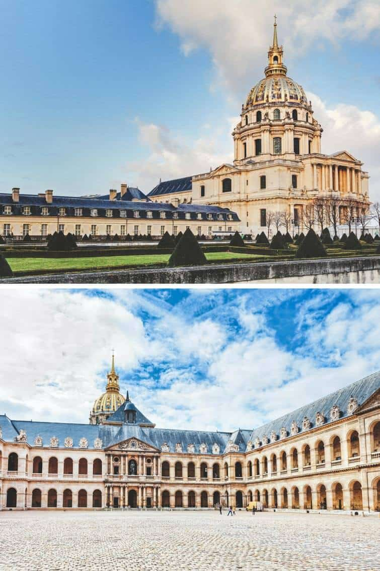 Les Invalides/ Hotel national des Invalides | It can be hard to know what you should see in Paris and what you should skip. Here is a list of the top things to see your first time in Paris. These Paris travel tips will you help as you as you explore the history, culture, food and top places to visit in Paris, France. Avenlylanetravel.com | #paris #france #europe #travel #photography #avenlylanetravel #travelinspiration #travelblog #beautifulplaces #traveltips #eiffeltower #bucketlist #europetravel