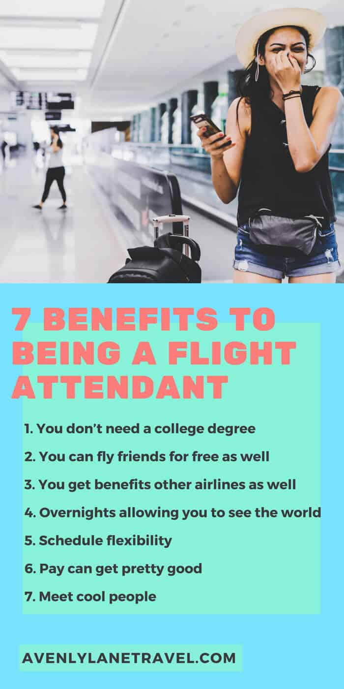 7 Benefits to Being a Flight Attendant!  Want to travel the world as your job?  These tips to being a flight attendant will help. #flightattendant #traveljobs #traveltips #travelblog #avenlylanetravel #avenlylanefinance