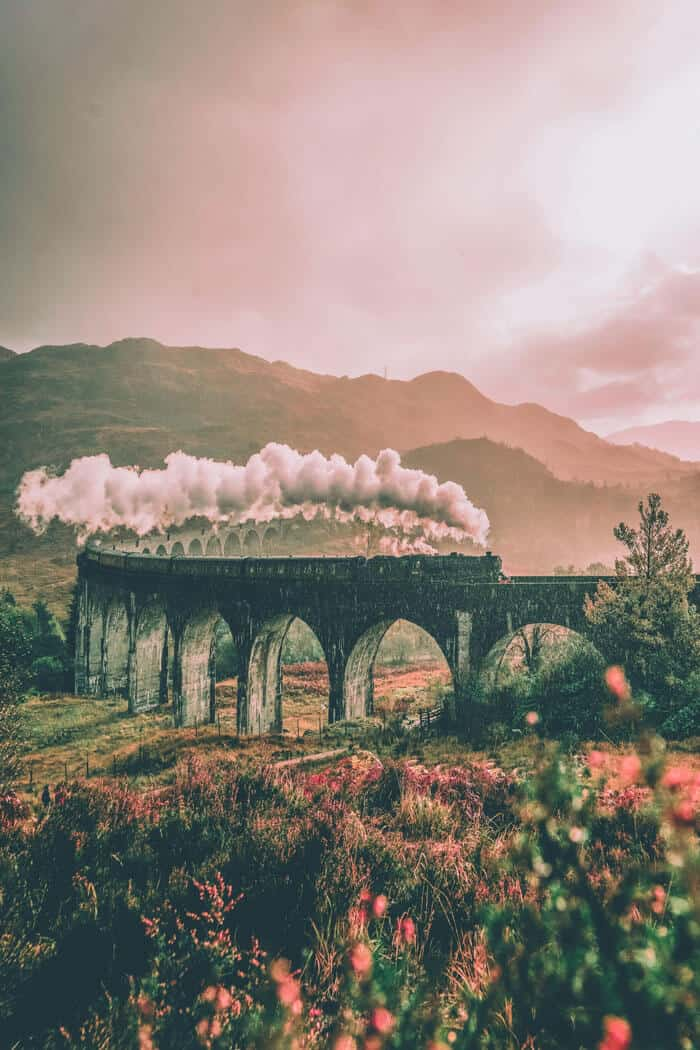 Glenfinnan Viaduct, Scottish Highlands. Pictures of Scotland you will want to add to your Scotland road trip itinerary!
