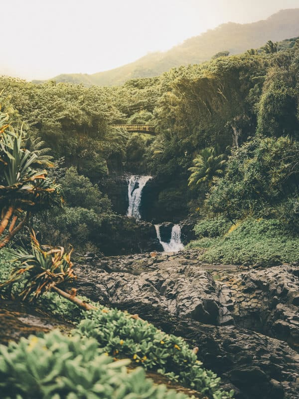 Seven sacred pools in Maui. The Road to Hana is an enchanting highway that crosses over 50 bridges and passes more than 18 waterfalls across 54 mesmerizing miles.