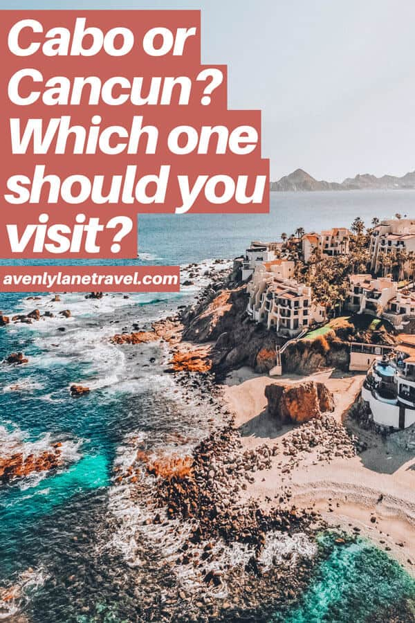 Cabo or Cancun? Which is better?Planning a trip to Mexico and wondering which beach vacation you should consider - Cabo or Cancun? If you are wondering which is better than click through to www.avenlylanetravel.com and check out the major differences between the 2 beach destinations in Mexico. #cabo #mexico #cancun