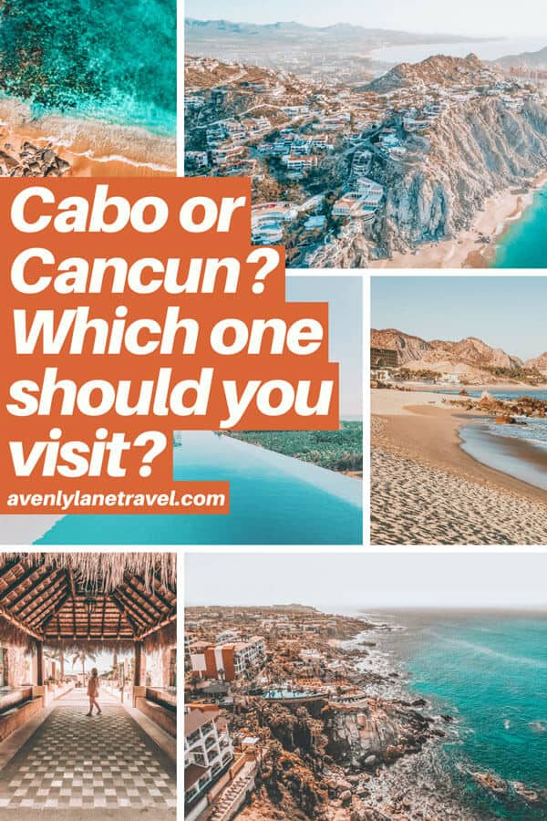 Cabo or Cancun, which is better? Planning a Mexico Vacation or honeymoon and wondering which beach vacation you should consider - Cabo San Lucas or Cancun Mexico? If you are wondering which has the best hotels, beaches and resorts check out the major differences on www.avenlylanetravel.com #cabo #mexico #cancun