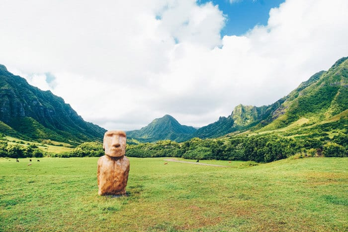 Easter Island head on Kualoa Ranch Oahu. Check out the Best Things to do in Oahu Hawaii (You Probably Haven't Heard of).