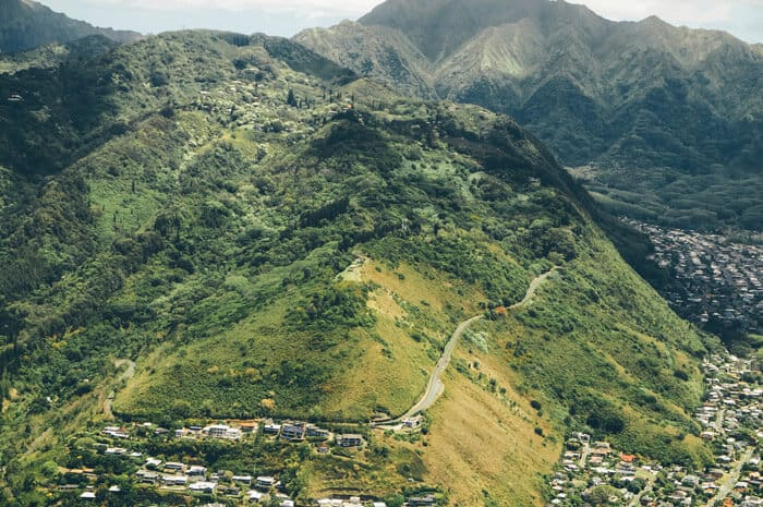 Aerial of Tantalus Mountain. Check out the Best Things to do in Oahu Hawaii (You Probably Haven't Heard of). Check out the full post on www.avenlylanetravel.com #avenlylanetravel #hawaii #honolulu #hawaiianislands #oahu
