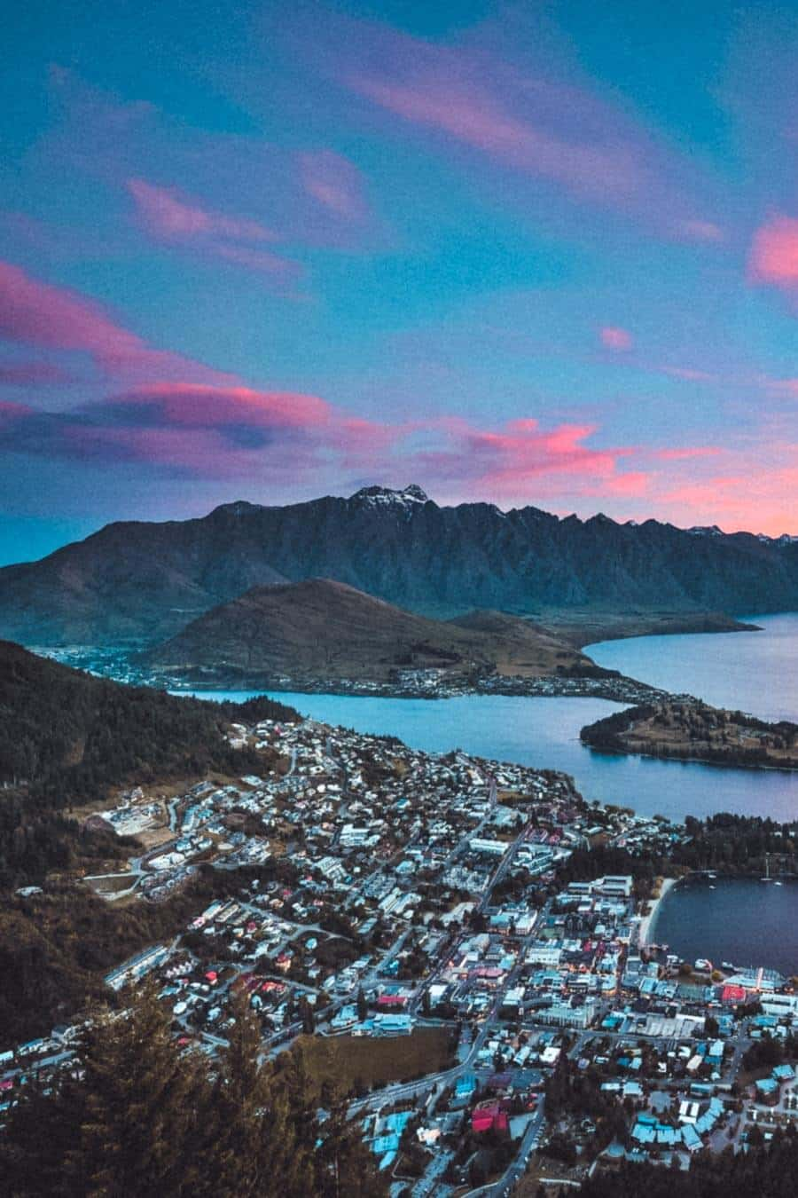 New Zealand most breathtaking view of the of most beautiful city in New Zealand, Queenstown in the South Island.