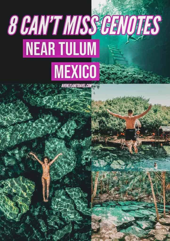 Cenotes Tulum Mexico! The 8 best cenotes neat Tulum Mexico! Want to make the most of your Cancun vacation? If yes, you definitely need to get away from the Hotel Zone and beaches to see some of the most beautiful cenotes Tulum offers. #tulum #tulummexico #cancun #mexico #cancunmexico #cenote #cenotes #avenlylanetravel #avenlylane
