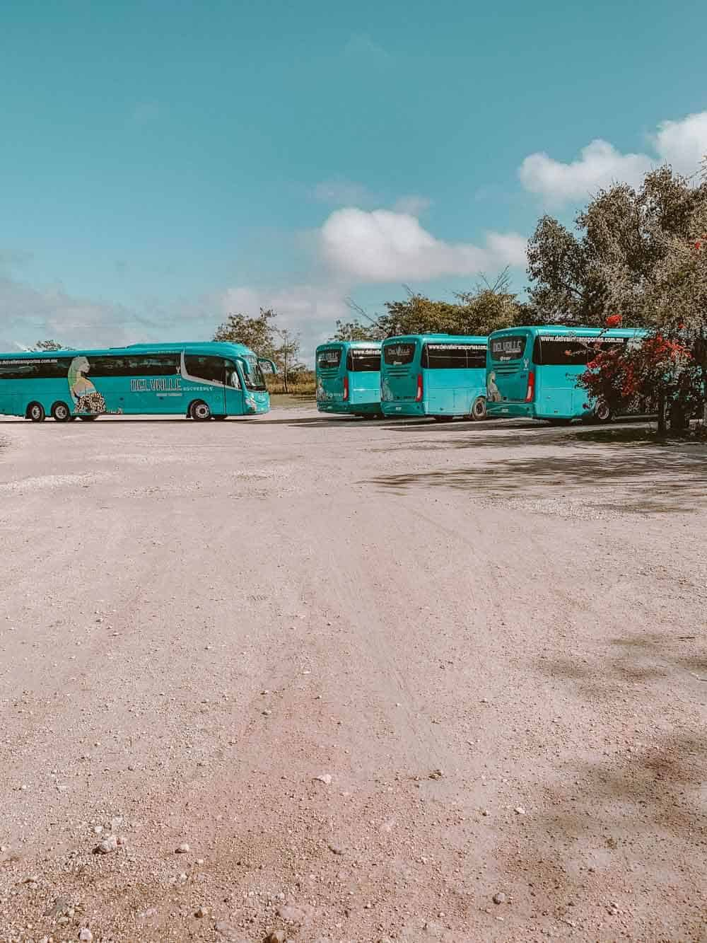 Tour buses at Cenote Suytun