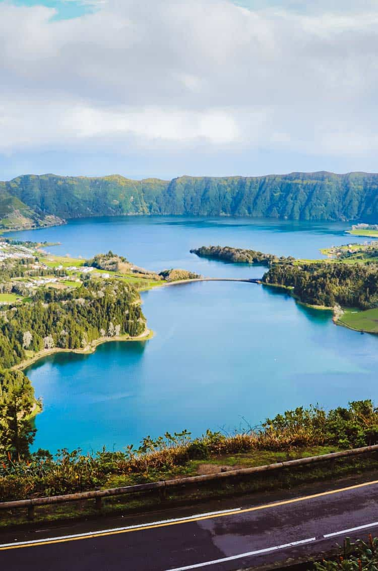 Amazing view of the lakes Sete Cidades photographed from the Vista do Rei Viewpoint in San Miguel Island, Azores, Portugal.