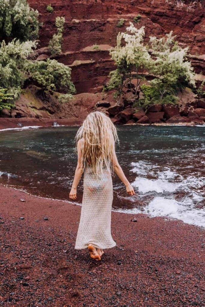 Red Sand Beach or Kaihalulu Beach in Maui, Hawaii - is one of the best beaches Maui offers.