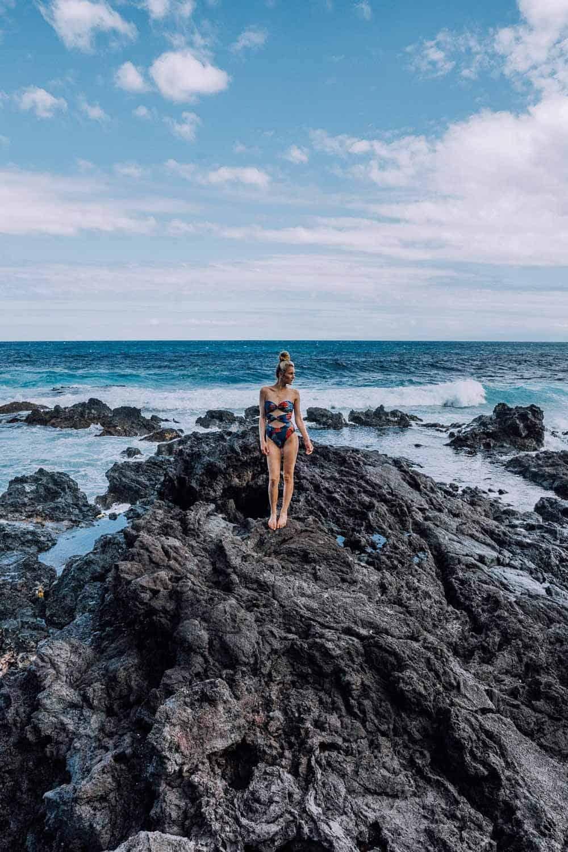 Rocks at the red sand beach Maui
