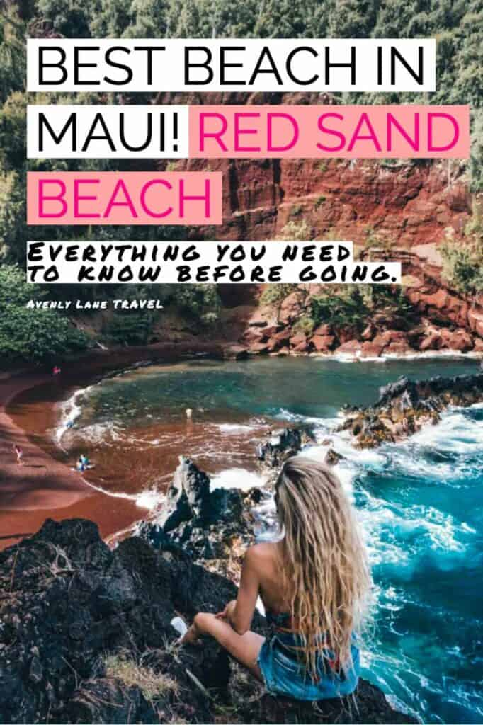 Red Sand Beach or Kaihalulu Beach in Hawaiian - is one of the best beaches Maui offers. Maui beaches all seem to be amazing, but this red beach is a perfect piece of tucked away beachfront paradise. It may be just a stone's throw from Hana. #roadtohana #maui #mauibeaches #redsandbeach #hawaii #hawaiianislands #travelinspiration #beautifulplaces