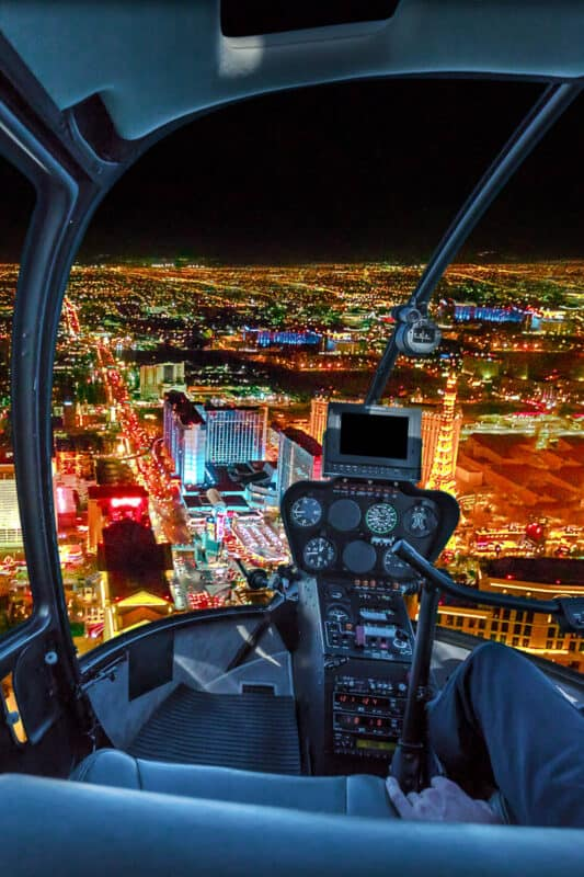 Helicopter tour at night of the Las Vegas Strip