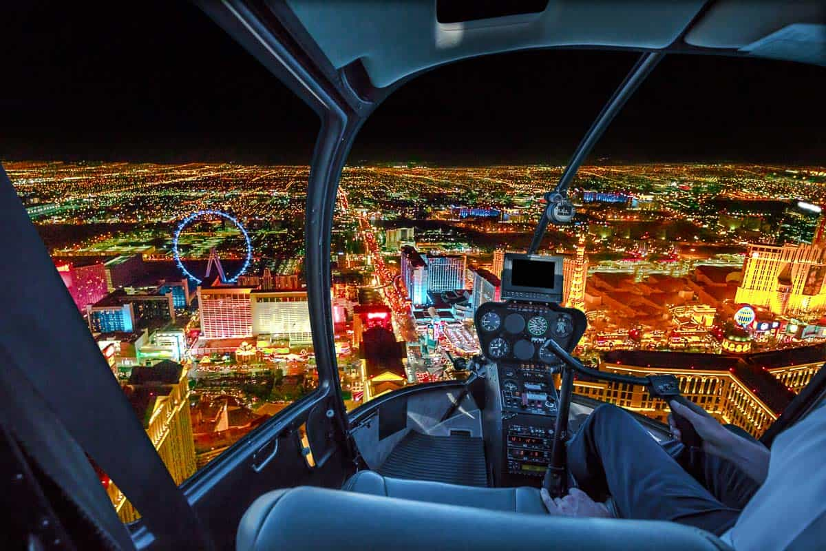 Helicopter tour of the Las Vegas Strip at night