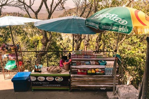 Vendors at the top of Mount Phousi