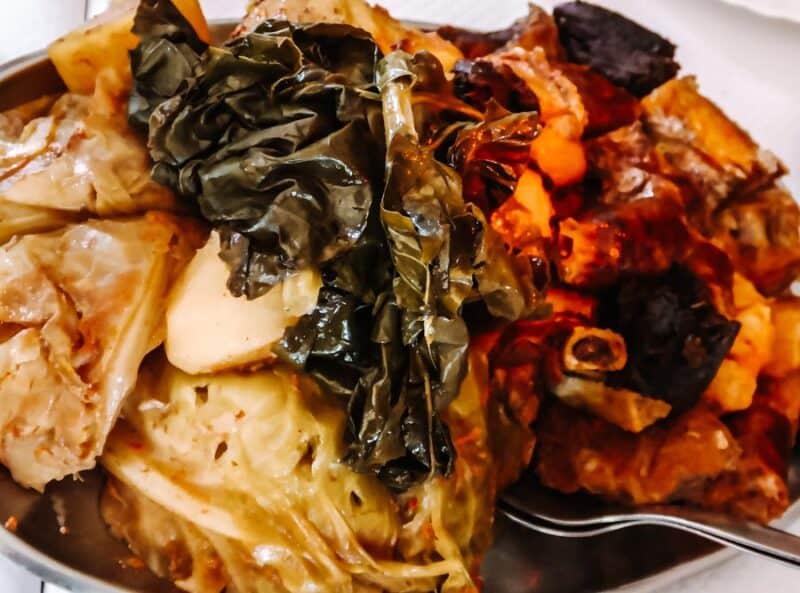 Cozido das Furnas local azorean volcanic meal in Sao Miguel Azores Portugal