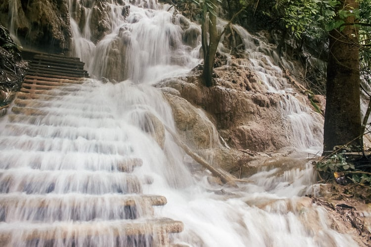 Stairs At Tat Kuang Si Waterfall In Laos