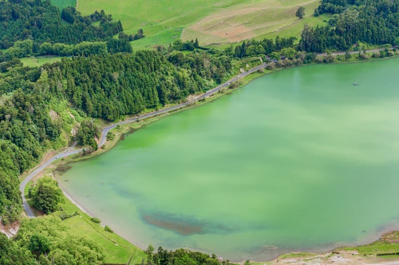 View of the Lake Furnas (Lagoa das Furnas) on Sao Miguel Island
