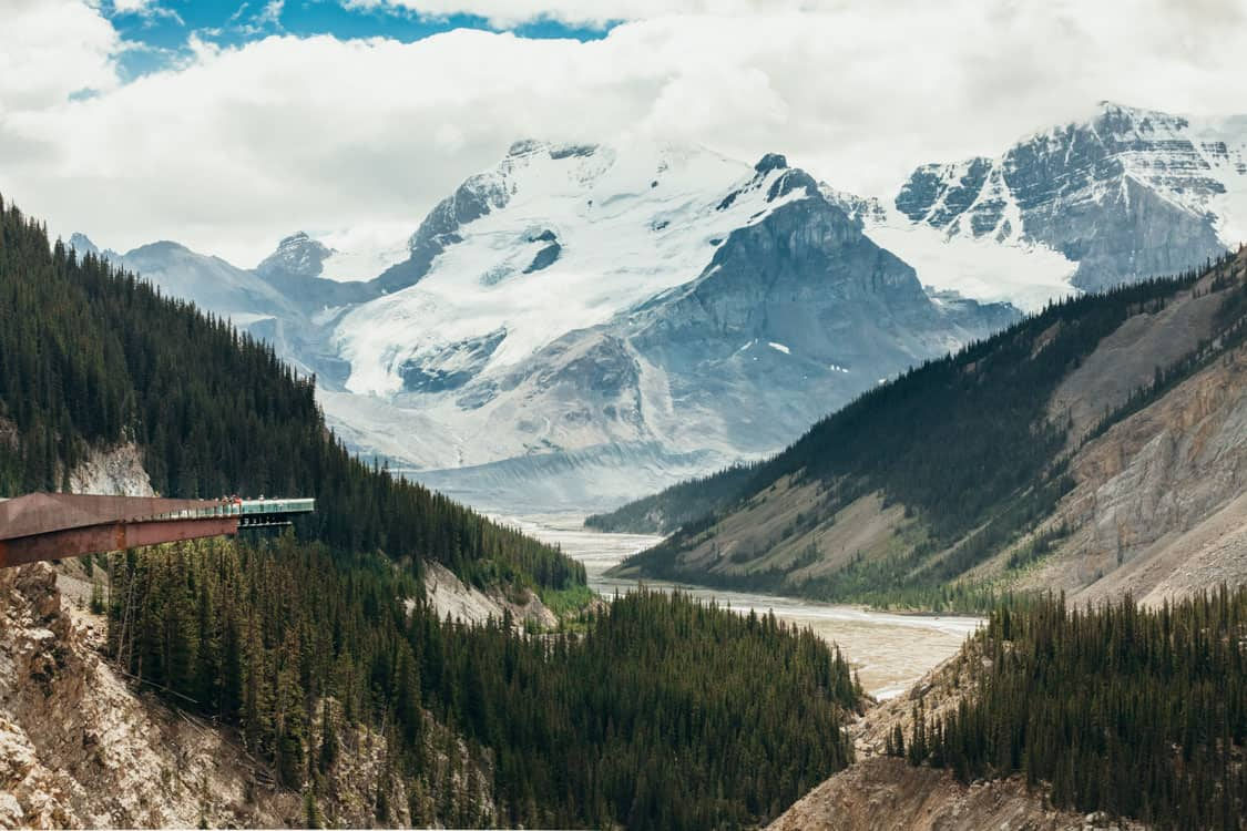 Columbia Icefield skywalk view Athabasca glacier