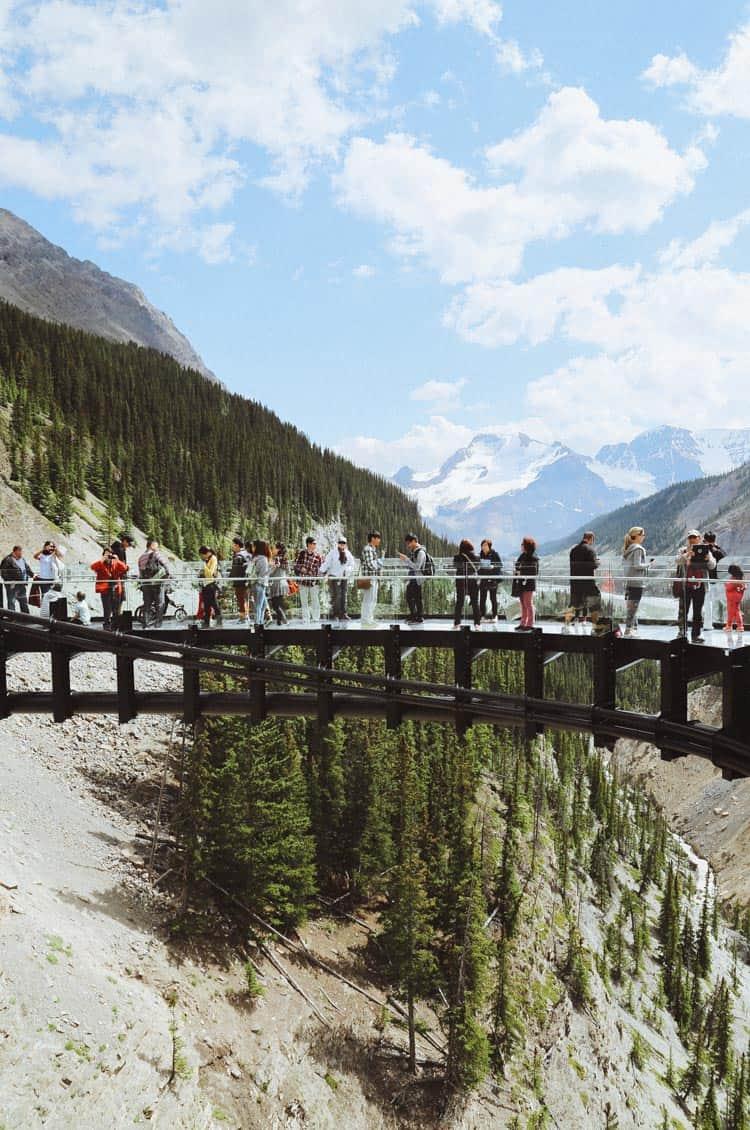 Tourists at the Glacier Skywalk in Jasper National Park