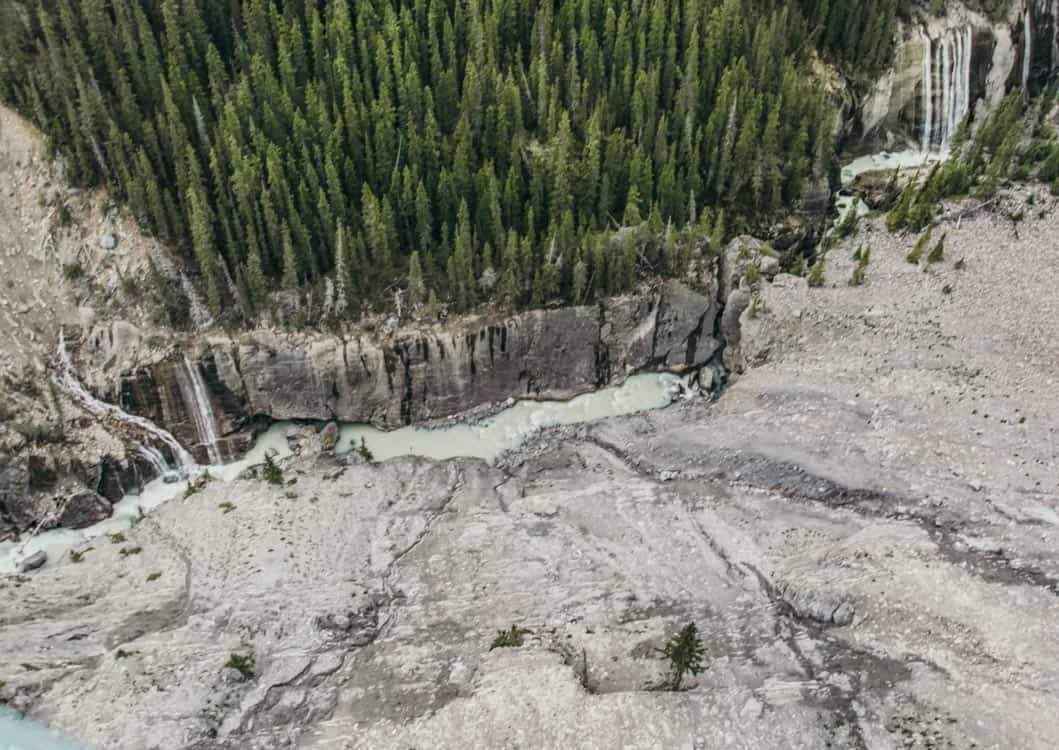 The ravine below as viewed from the Glacier Skywalk in Jasper National Park.