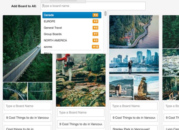 Tailwind Pinterest Scheduler Board Lists