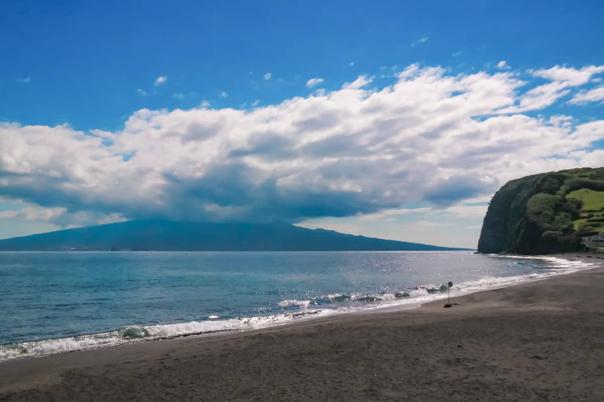View of Pico Island from Almoxarife beach on Faial island Azores