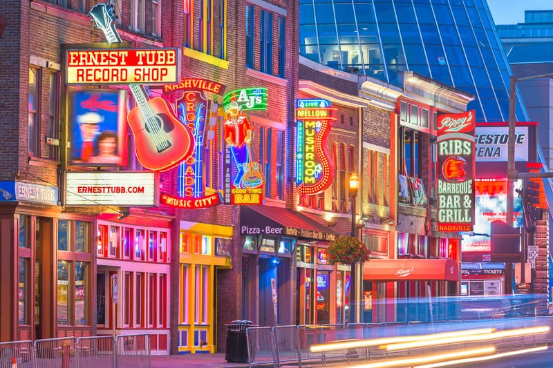 Honky-tonks on Lower Broadway in Nashville Tennessee