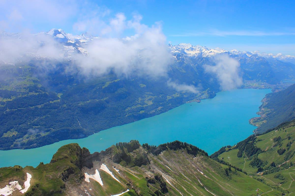 Lake Brienz seen from Mount Brienzer Rothorn, Switzerland.